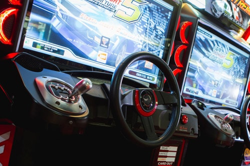 Close up shot of a driving game